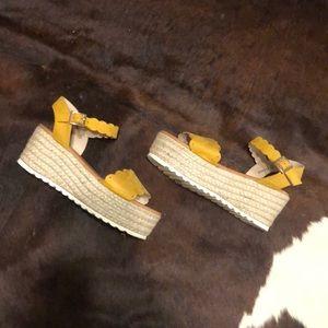 Mustard Scalloped Espadrilles